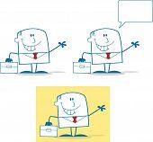 Businessman Dude Monochrome Cartoon Character 3. Collection Set