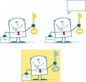Businessman Dude Monochrome Cartoon Character 5. Collection Set