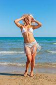 Gorgeous lady in bikini dancing on the beach