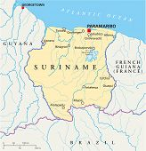 picture of suriname  - Suriname Political Map with capital Paramaribo - JPG
