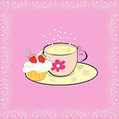 A cup of tea with cupcake