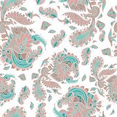 Vector Seamless Texture With Abstract Flowers On A White Background. Tender Pattern.