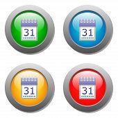 Calendar organaizer icon on buttons set