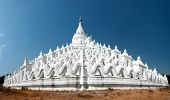 White pagoda temple in Myanmar (Burma), Mandalay