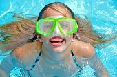 Girl with swim goggles