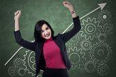 Cheerful Businesswoman Celebrate Her Success