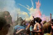 People Throw Color Bombs At Bubble Palooza Event