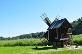 stock photo of sibiu  - sibiu romania ethno museum wood wind mill - JPG