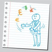 Businessman juggler with currency signs