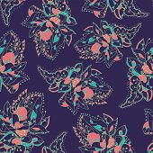 Vector Seamless Texture With Abstract Flowers. Endless Background. Vector Backdrop. Bright Pattern.