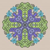 Ornamental round lace in fantasy style. Vector illustration