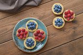 Tart With Fresh Raspberries And Blueberries