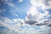 Beautiful white clouds on sunny sky