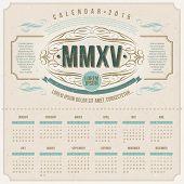 Vector template design - Ornate vintage calendar of 2015 on a cardboard