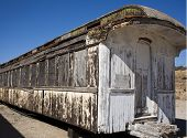 White Worn Out Wooden Train Car