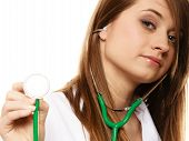 Woman Doctor In Lab Coat With Stethoscope
