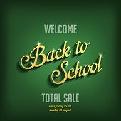 Back to School vector typography design poster template. Vintage Retro style Education, Learning the