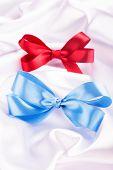 Blue And Red Ribbon Satin Bows