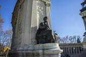 classical bronze sculptures, Lake in Retiro park, Madrid Spain