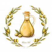 picture of olive branch  - Watercolor illustration with green olive branch and olive oil in the bottle - JPG