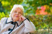 Portrait Of Pensive Older Ladies In A Coat