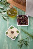 Olives And Hummus - Mediterranean Snack