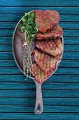 picture of veal meat  - fresh ripe grilled beef meat on pan isolated on white background - JPG