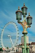 stock photo of westminster bridge  - Vintage lamp post on Westminster Bridge in London - JPG