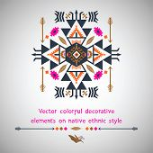 Vector colorful elements on native ethnic style