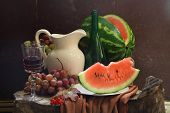 Wine, Water-melon, Grapes, Guelder-rose And White Jug