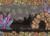 picture of cave  - Cartoon of underground cave with gems and the crystals - JPG