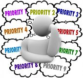 Priority words in thought clouds ordering most important and critical jobs and tasks in work