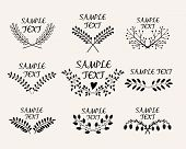 Hand drawn floral symmetric graphic design elements