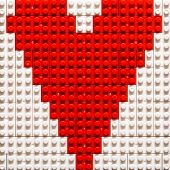 Heart Shape created from building toy bricks