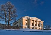picture of winter palace  - Pavlovsky palace in winter sunny day Pavlovsk Russia - JPG