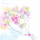 Floral watercolor abstract background for the card or invitation