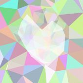 Abstract Triangle Background With Heart. Pink Palette