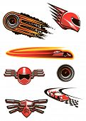 foto of car symbol  - Racing symbols in red and orange colors with helmet and speedometers in fire flames - JPG