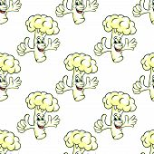Seamless cartooned cauliflower vegetable background