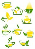 Green tea icons with outlined cups and teapot