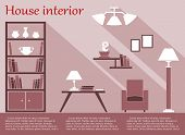House interior infographic in flat style with furniture and text template