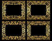 Golden floral frames on black background