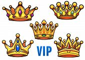 picture of crown  - Golden royal crowns in cartoon style ornate decorated colorful jewels with blue caption VIP for comic book or coat of arms design - JPG