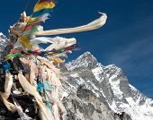 View Of Lhotse Peak With Prayer Flags
