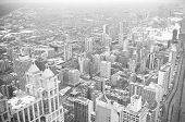 Chicago Downtown Area - Vintage Style Black And White Photo
