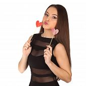 Valentines Beautyfull Girl With Heart In Her Hands