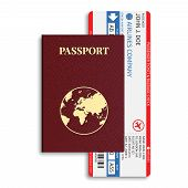 Vector Airline Passenger And Baggage ( Boarding Pass ) Tickets With Barcode And International Passpo