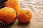 Oranges Out Of A Basket On A Table With  Brown Tablecloth Closeup