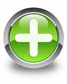 Plus Icon Glossy Green Round Button