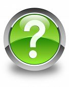 Question Icon Glossy Green Round Button